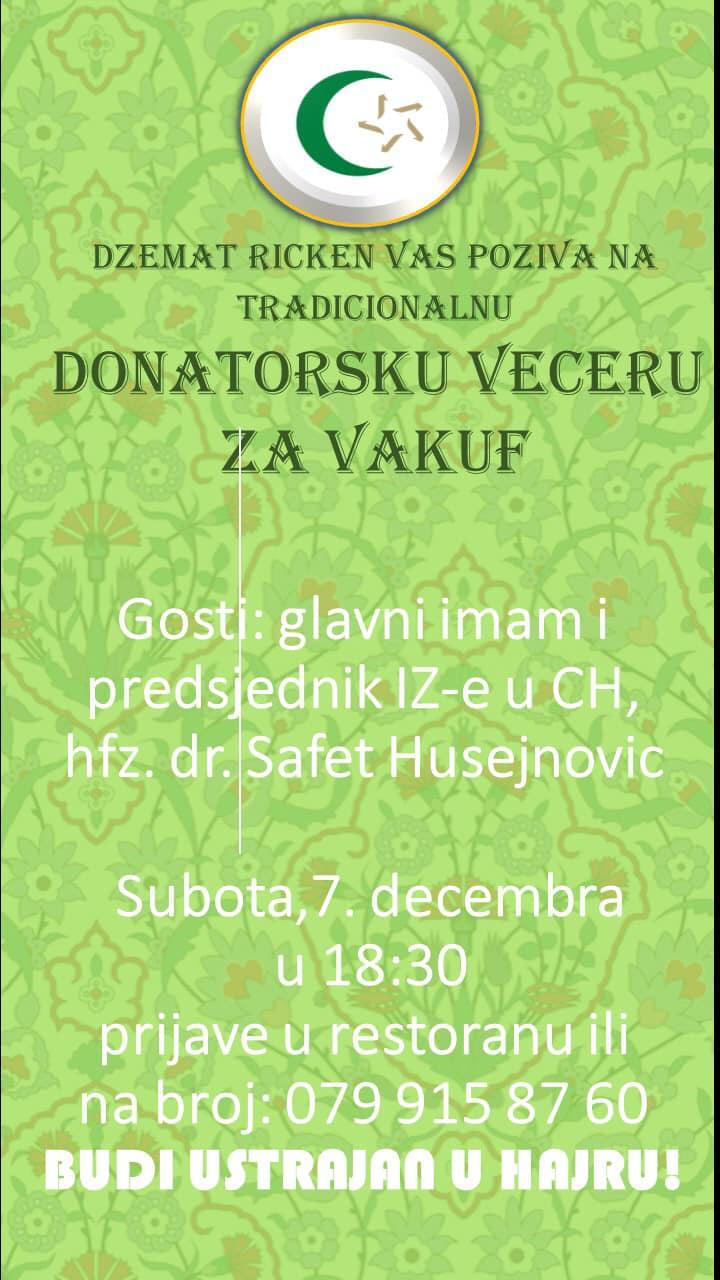 Donatorska večera za vakuf @ Džemat Ricken | Ricken | Sankt Gallen | Švicarska