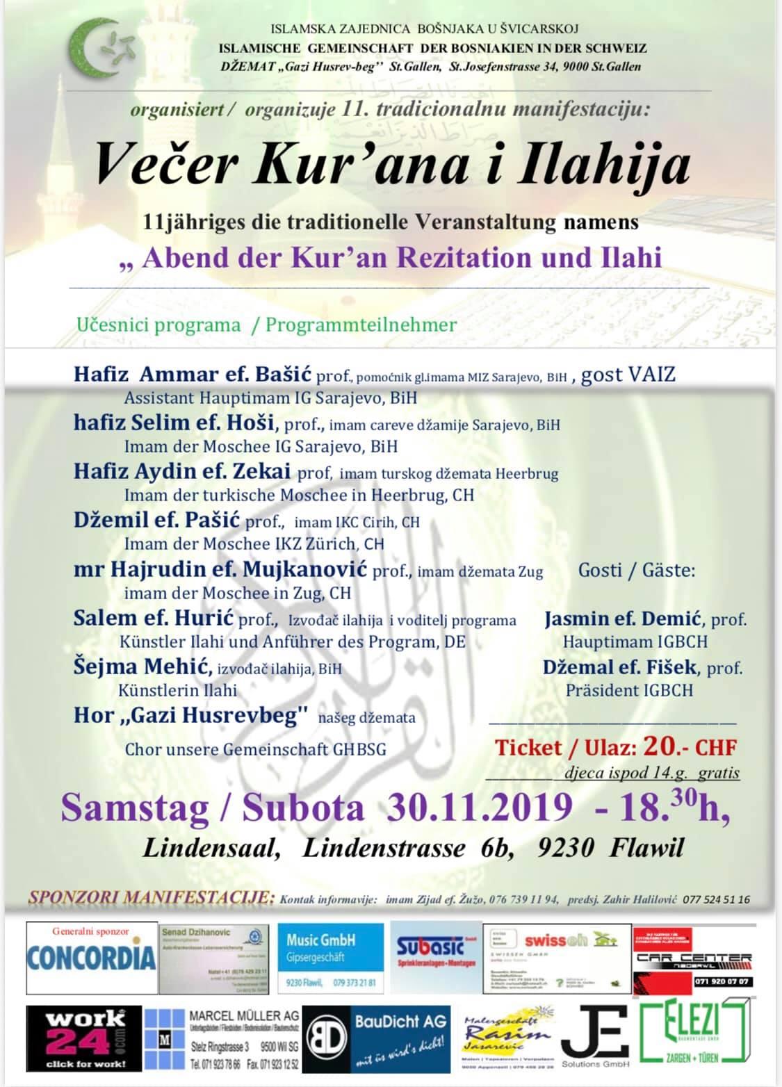 Večer Kur'ana i ilahija @ Džemat GHB St. Gallen | Flawil | Sankt Gallen | Švicarska